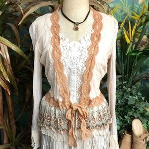 """""""Hazel"""" vntg look open cardi w/ribbon and lace- M"""